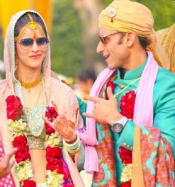 Jatin Sapru with his wife on their wedding day