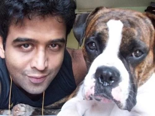 Nithin Kamath with his pet dog