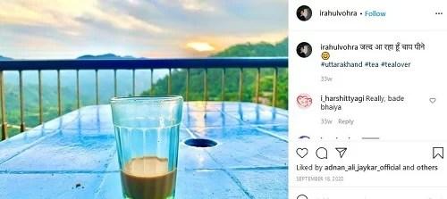 Rahul Vohra's Instagram post about tea