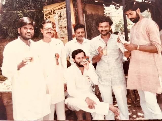 A picture from 1981 showing Twenty-one years old Prahlad Singh Patel with his ABVP colleagues Prakash Javadekar, Gangapuram Kishan Reddy, and others