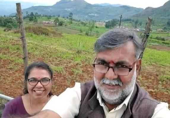 Prahlad Singh Patel with his wife, Pushplata Singh Patel