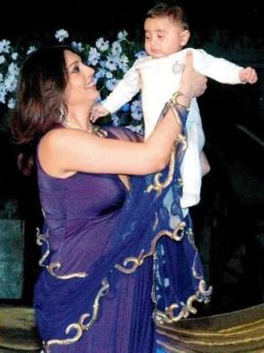 Yukta Mookhey with her son