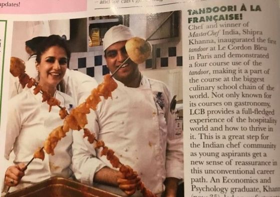 Shipra while inaugurating the first tandoor in Paris