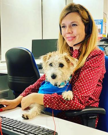 Carrie Symonds with her pet, Dilyn