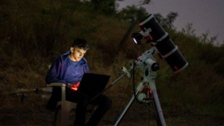 Prathamesh Jaju trying to capture the night sky with his equipments