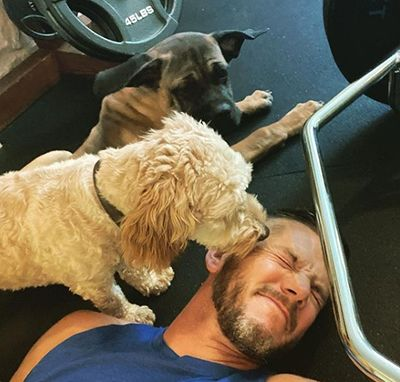 Matt Carriker with his pet dogs