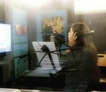 Sara Razi during the voice recording for 3 Bahadur