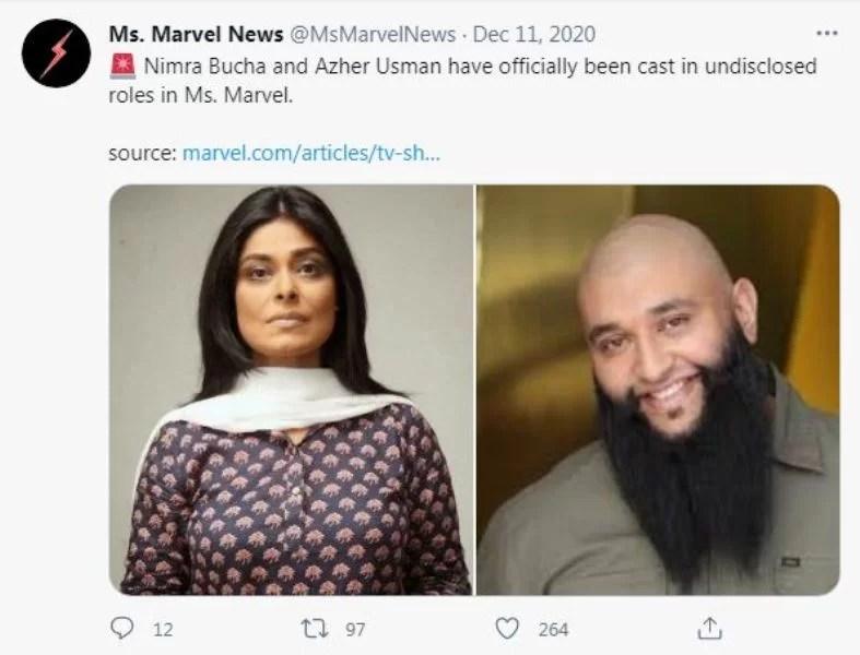 Nimra Bucha on the Twitter handle of Ms Marvels