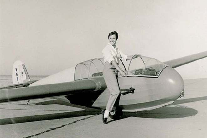 Wally Funk during her youthful flying days