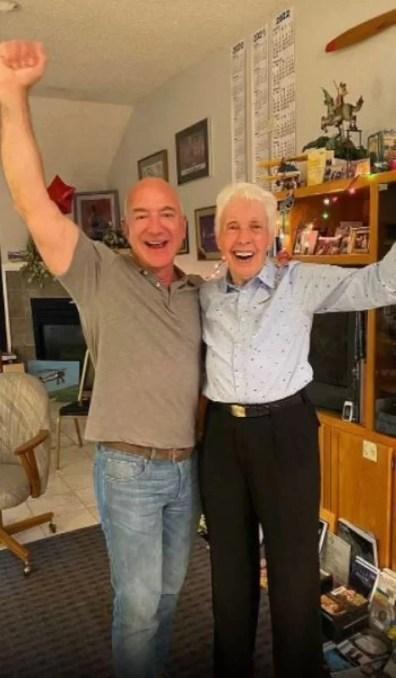 Wally Funk with Jeff Bezos