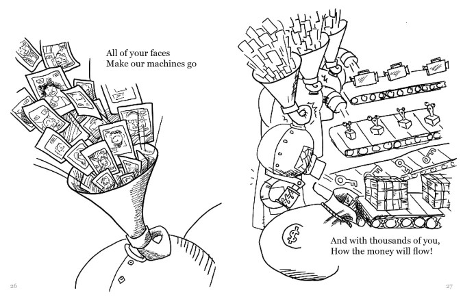 """A drawing split into two sides. The left side shows a pile of Polaroid selfies being sucked into a machine. The text reads, """"All of your faces Make our machines go"""". The right side shows these machines spitting out the selfies as various items such as video cameras and keys. Stacks of money are traveling down the last conveyor belt into a bag labeled with the money sign. The text reads, """"And with thousands of you How the money will flow!"""""""