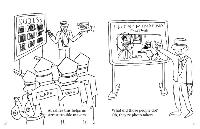 """A drawing split into two frames. In the left frame there is an operator figure pointing to a board labeled """"SUCCESS"""" with photos of people behind bars. The operator is holding a video camera that says, """"HA!"""" A group of figures, holding money bags and facing away, have """"LAPD"""" on the backs of their shirts. On the right is a board labeled """"Incriminating footage"""" with a diagram of a person marked """"guilty"""". The operator figure is pointing to the board. On the left, the text reads, """"At allies this helps us Arrest trouble makers"""" and on the right it reads, """"What did those people do"""" Oh, they're photo takers"""""""