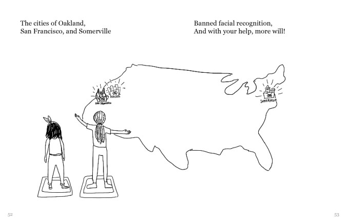 "The person with long lighter hair shows the main character person with shoulder-length black hair a zoomed out view of the United States, with San Francisco, Oakland, and Somerville highlighted. The text reads, ""The cities of Oakland, San Francisco, and Somerville Banned facial recognition, And with your help, more will!"""