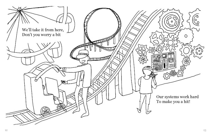 """A drawing of the a Polaroid figure with arms and legs stepping onto a rollercoaster ride, with a figure in a suit and hat helping it on the ride. There is a ferris wheel in the distance, and on the right side there is a wall of gears and levers. The text reads, """"We'll take it from here, Don't you worry a bit Our systems work hard To make you a hit!"""""""