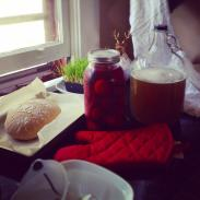 beer brewing, eggs pickling, fresh baked bread
