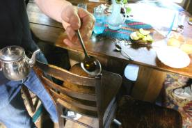 Maple syrup made in Ted's sugaring shack, from red maples on the property