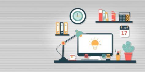 Empty Work Desk With Idea Icon on Computer Screen - Creativity a