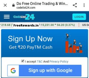 signup with google codelist24, Codelist24, Free paytm cash on codelist24, codeliest24 free paytm, codeliest24,