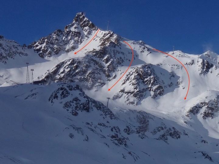 Brunnenkogel 3.440 m, Freeride Varianten direkt aus der Wildspitzbahn am Pitztaler Gletscher
