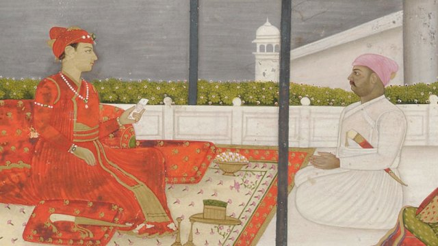 detail from a Prince holding an audience F1907.186