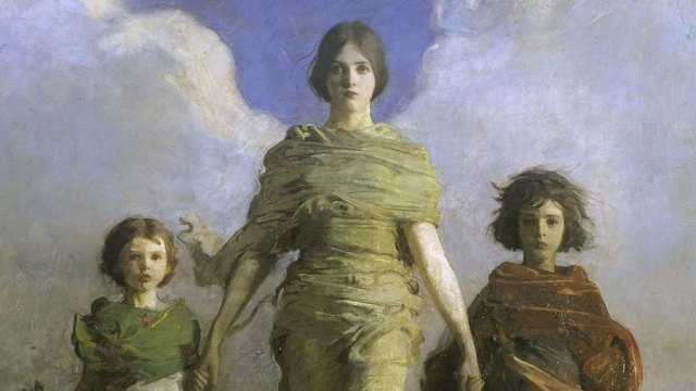 "detail from the painting ""A Virgin"" - a woman with clouds behind her to suggest wings walks with two children"