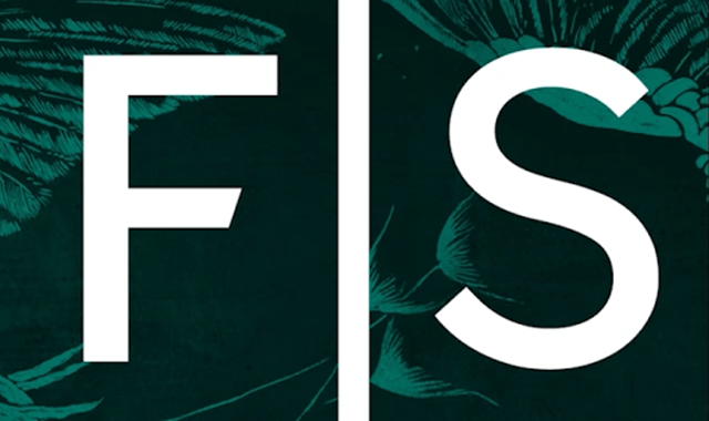 F|S logo on a posterized blue and teal detail from the peacock room