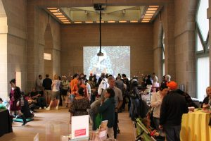 Visitors stand in the Sackler Pavilion.