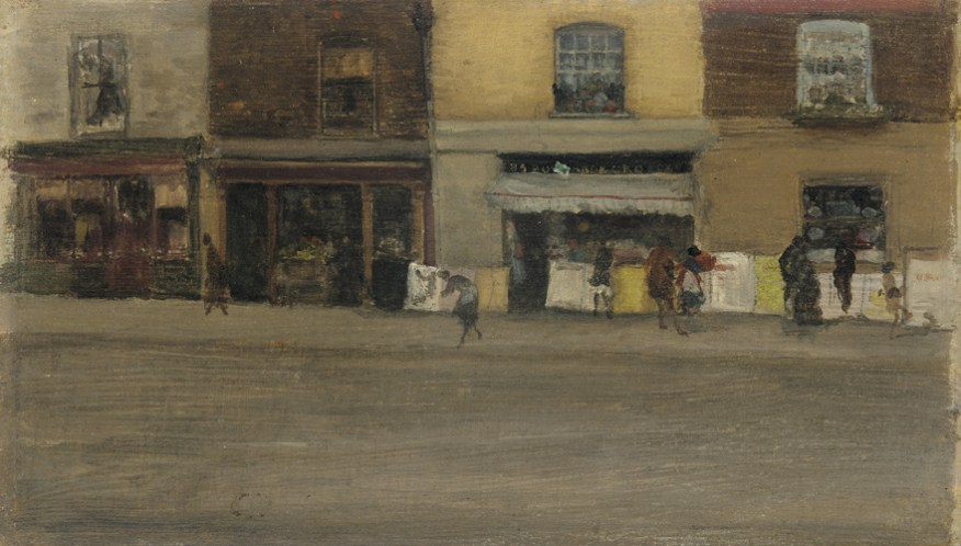 Painting, fronts of shops in brown and yellow.