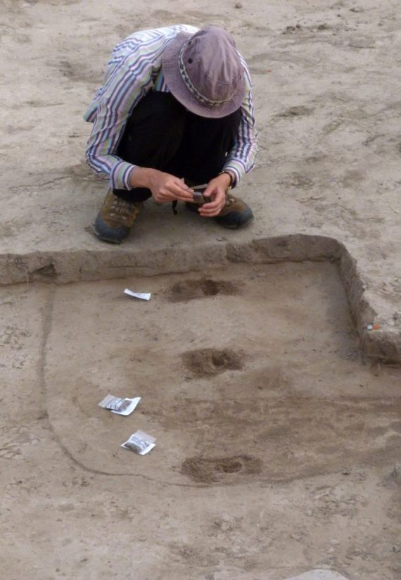 Rebecca Beardmore taking phytolith soil samples at Tuzusai in 2011, photo by Perry A. Tourtellotte