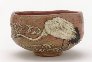 Kenzan style tea bowl with design of crane and flowing water; Japan; late 19th century; Gift of Charles Lang Freer, F1896.100