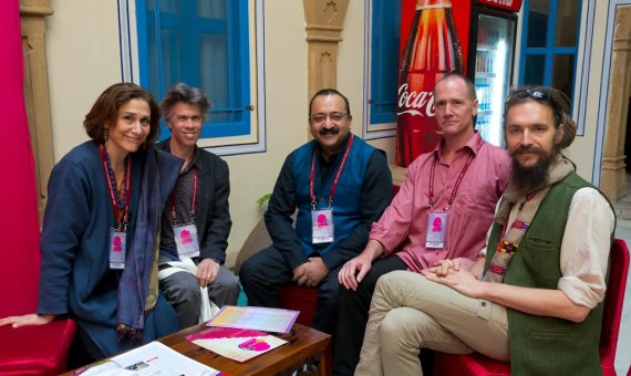 "Curator Debra Diamond preparing presentation on ""The Roots of Yoga"" at Jaipur Literary Festival, January 24, 2013. Left to right: Debra Diamond, David Gordon White, Birad Rajaram Yajnik, Mark Singleton, Sir James Mallinson (photo by Neil Greentree)"
