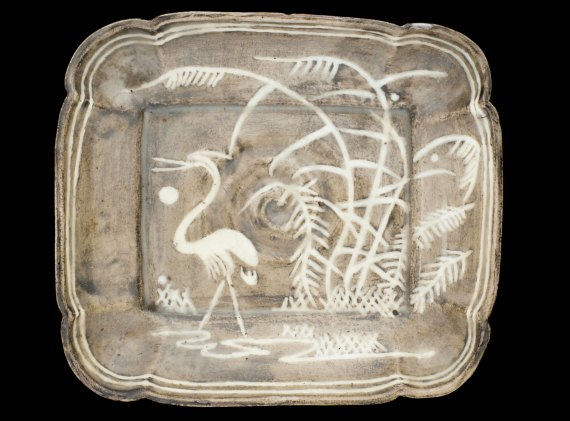 Rectangular Dish, Japan, stoneware with white slip and iron pigment under white glaze; Gift of Charles Lang Freer, F1896.53
