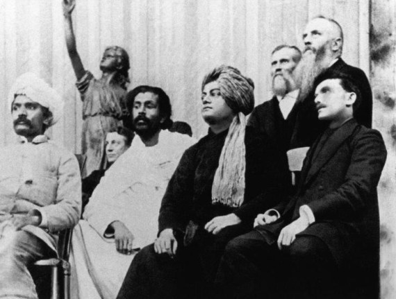 Swami Vivekananda on the platform at the Parliament of Religions, September 1893.