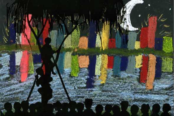 Ariana, age 11, created a beautiful night scene inspired by the art of Kiyochika.