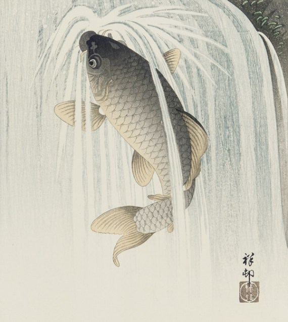 Carp ascending a waterfall; Ohara Koson (Japanese, 1877–1945), Japan, ca. 1926; ink and color on paper; F2002.15