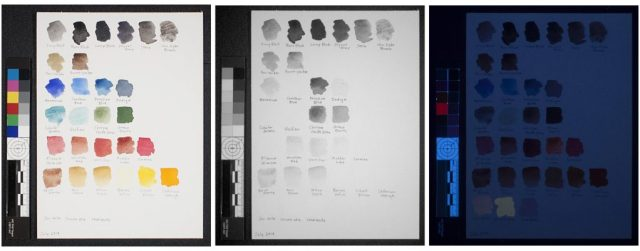 Reconstructed 19th-century watercolor palette. Left to right: visible light; reflected infrared (IR); ultraviolet-induced visible fluorescence (UV)