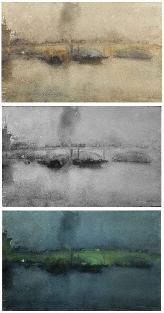 London Bridge; James McNeill Whistler (1834–1903); United States, early 1880s; pencil and watercolor on paper; Gift of Charles Lang Freer, F1905.115. Top to bottom: visible light; reflected infrared (IR); ultraviolet-induced visible fluorescence (UV). Note the enhanced visualization of the graphite underdrawing in the IR image.
