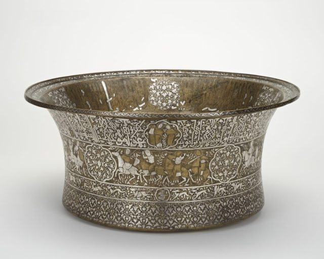 Basin; probably Damascus, Syria, Ayyubid period (1171–1250), 1247–49; brass inlaid with silver; Purchase, Freer Gallery of Art, F1955.10