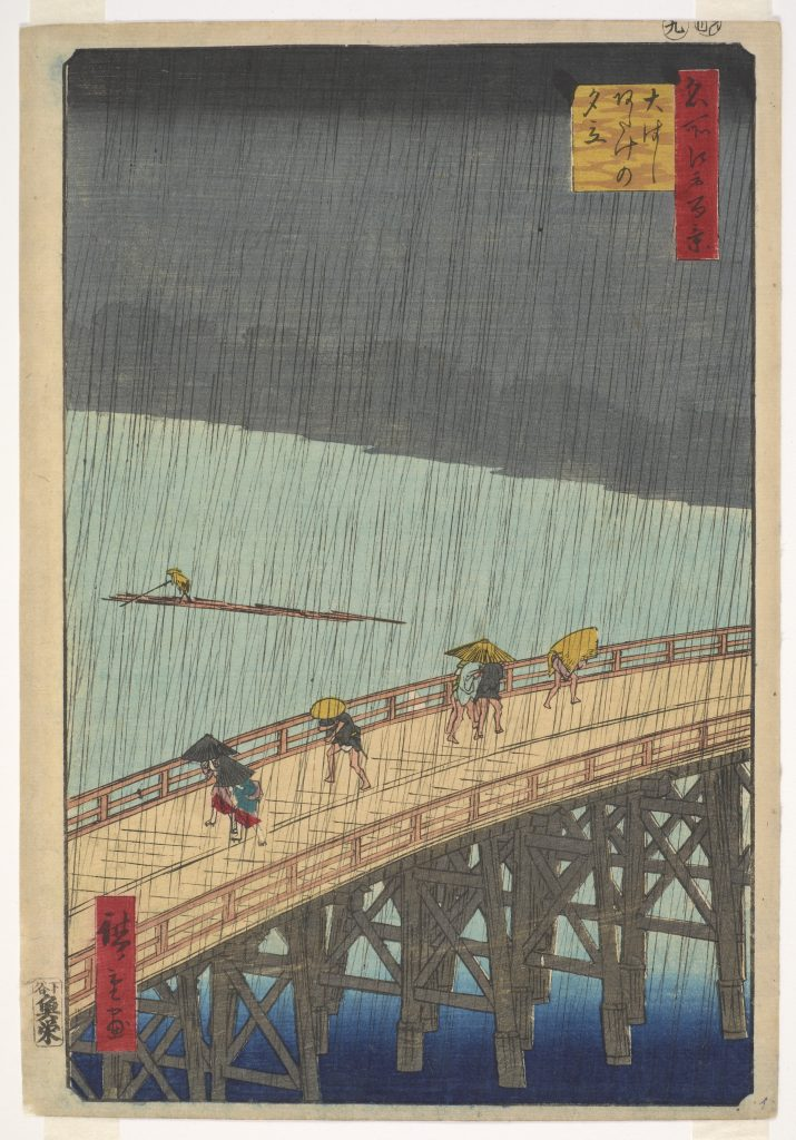 Sudden Shower over the Shin-Ohashi Bridge and Atake (Ohasi Atake no yu dachi), from the series One Hundred Famous Views of Edo (Meisho Edo Hyakkei); Utagawa Hiroshige (1797–1858); Japan, Edo period, 1857; Gift of Alan, Donald, and David Winslow from the estate of William R. Castle, Freer Gallery of Art, F1994.29