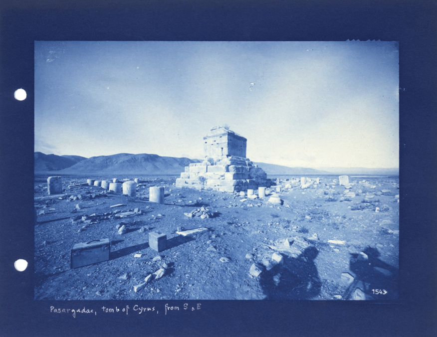 Mausoleum of Cyrus: view from the south; Ernst Herzfeld; Iran, 1905–28; cyanotype from glass plate negative; Ernst Herzfeld Papers, FSA A.6 04.GN.1543p