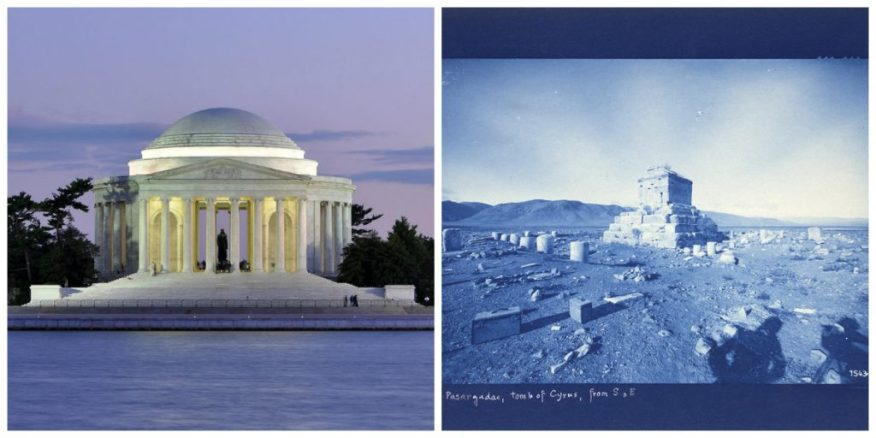 Left: the Jefferson Memorial in Washington, DC (Joe Ravi, CC-BY-SA 3.0). Right: Mausoleum of Cyrus, Ernst Herzfeld, Iran, 1905–28.