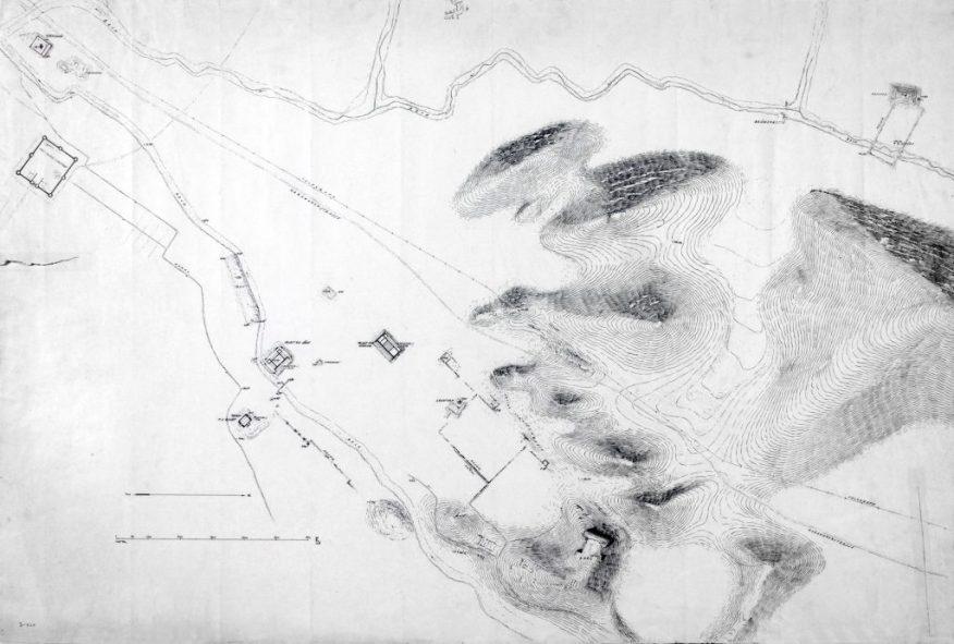 Excavation of Pasargadae: general plan of the ruins; Friedrich Krefter; Iran, 1928; ink on paper; Ernst Herzfeld Papers, FSA A.6 05.0825