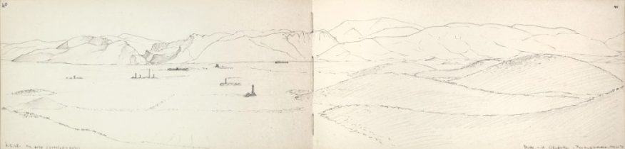 View of dasht-i murghab toward Mausoleum of Cyrus; Sketchbook 10: Pasargadae; Friedrich Krefter; Iran, May 5, 1928; graphite on paper; Ernst Herzfeld Papers, FSA A.6 02.0210