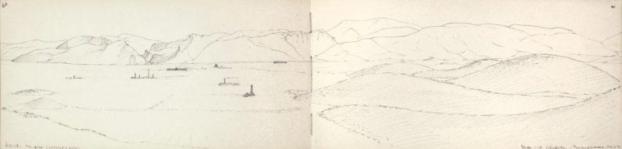 View of dasht-i murghab toward Mausoleum of Cyrus; Sketchbook 10: Pasargadae; Friedrich Krefter; Iran, May 5, 1928; graphite on paper; Ernst Herzfeld Papers, FSA A.6 02.0210