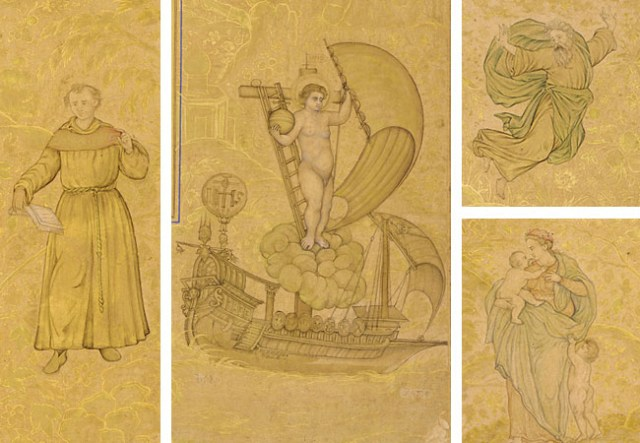 These figures from the border of an Islamic folio created in India about the year 1600 depict St. Anthony (left), Christ and the Ship of Salvation, God the Father (upper right), and the Virgin Mary with the Christ Child and St. John