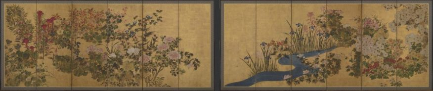 Flowers and a brook; Japan, Edo period, 18th century; six-panel screens, color over gold on paper; Gift of Charles Lang Freer, F1897.27–28