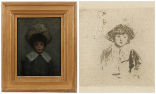 Left to right: Whistler's and Sickert's portraits of young Stephen Manuel.