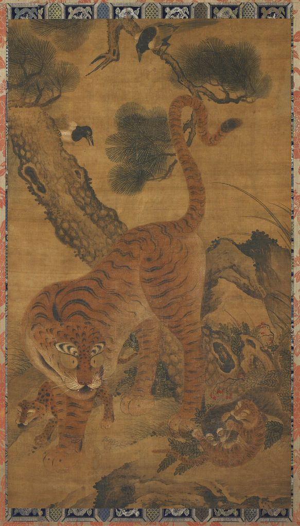 Tiger with cubs and magpies; China, possibly Zhejiang province, Ming dynasty, 15th century; ink and color on silk; Gift of Charles Lang Freer, F1911.252