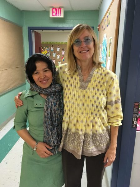 Sughra visited Oakridge Elementary School in Arlington, Virginia, and met with teacher Dawn Amin-Arsala.