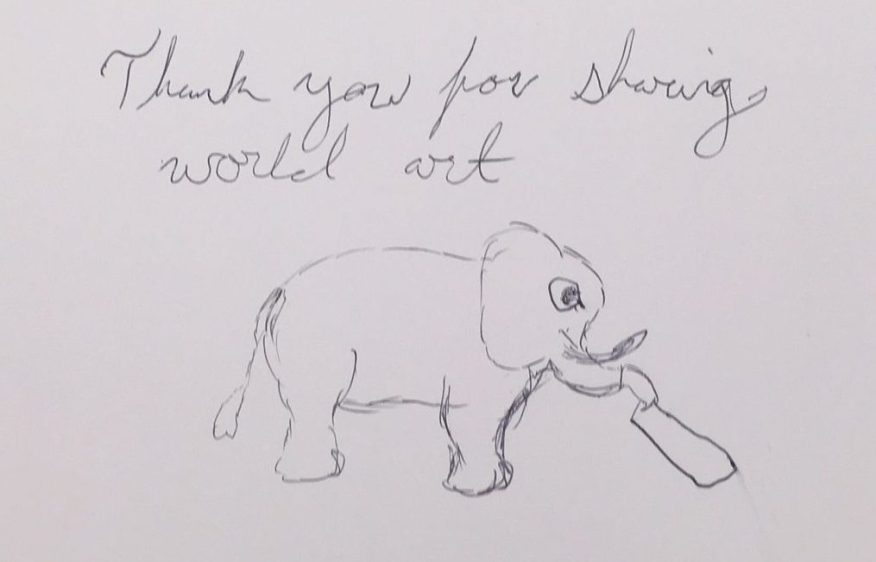 Thank you note from a visitor reading: thank you for sharing world art